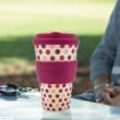 Ecoffee Cup hordozható kávéspohár - Pink Polka, 400 ml