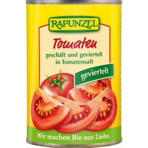 Rapunzel bio Hámozott negyedelt paradicsom paradicsomlében 400 g