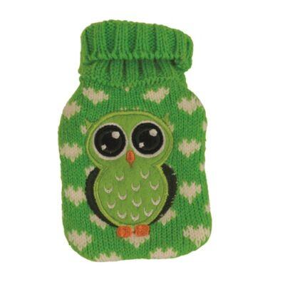 Vivamax Kéz és fülmelegítő bagoly zöld 7x12 cm kristályos