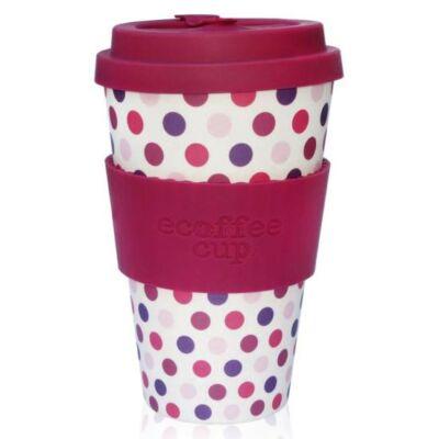 Ecoffee Cup hordozható kávéspohár  Pink Polka 400 ml