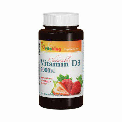 Vitaking D3 Vitamin 2000ne Epres Rágótabletta 210 db