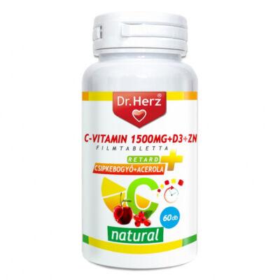 Dr. Herz C-vitamin 1500mg+D3+Zn csipkebogyóval és acerola kivonattal tabletta, 60 db