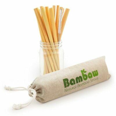 Bambaw szívószál bambuszból - 12 db-os szett tisztító kefével