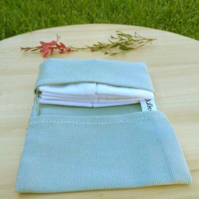 Julka zsebkendő és zsebkendőtartó, szettben - menta