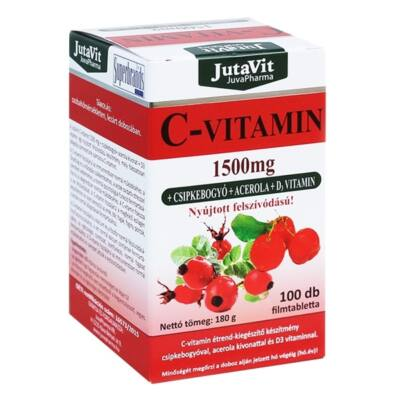 JutaVit Cvitamin 1500mg Csipkebogyó Acerola D3 filmtabletta 100 db