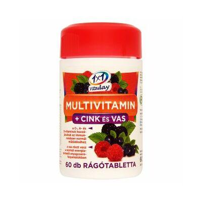 1x1 Vitaday Multivitamin   cink és vas erdei gyümölcs ízű rágótabletta 60 db