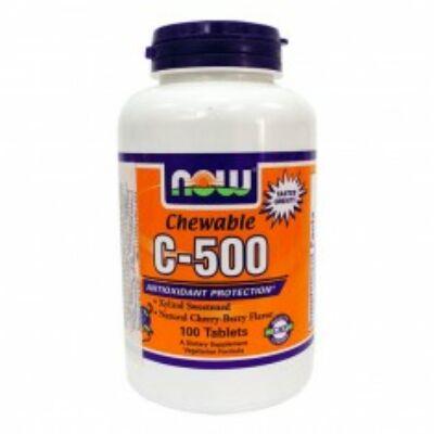 Now Cvitamin 500 mg cseresznye ízű rágótabletta 100 db