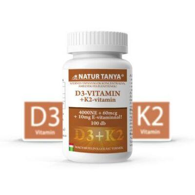 Natur Tanya® D3 és K2-VITAMIN EGYÜTT! 4000IU D3-vitamin és 60mcg K2 kivonat 1 tablettában! 100db