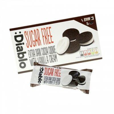 Diablo Oreo étcsokoládés keksz, cukormentes, vanília krémmel, 176 g