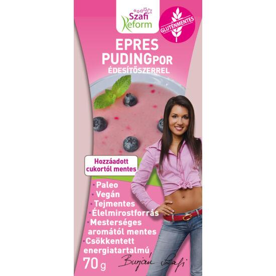 Szafi Reform epres pudingpor édesítőszerrel gluténmentes paleo vegán 70 g
